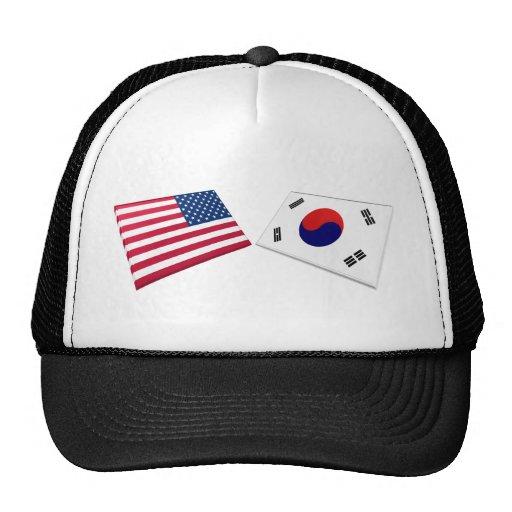 US & South Korea Flags Trucker Hat