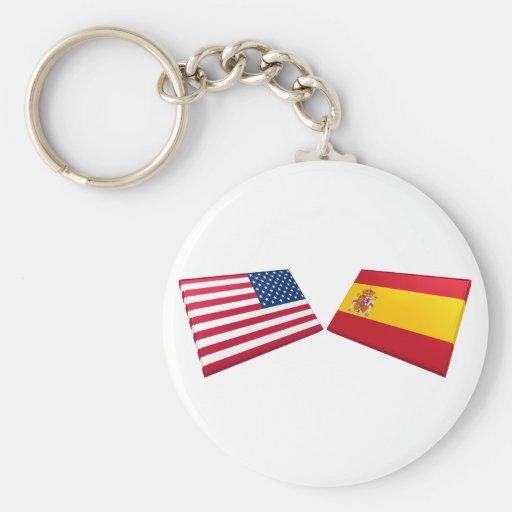 US & Spain Flags Basic Round Button Keychain