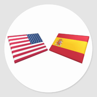 US & Spain Flags Classic Round Sticker