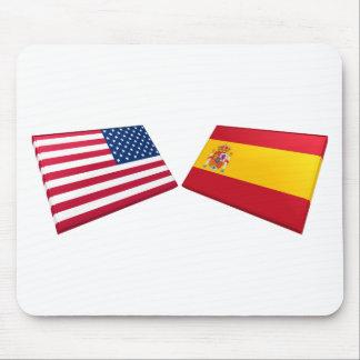 US & Spain Flags Mouse Mat