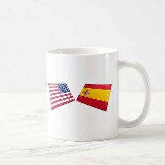 US & Spain Flags Mugs