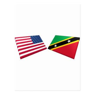 US & St. Kitts and Nevis Flag Postcard