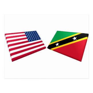 US & St. Kitts and Nevis Flag Postcard