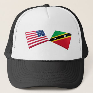 US & St. Kitts and Nevis Flag Trucker Hat