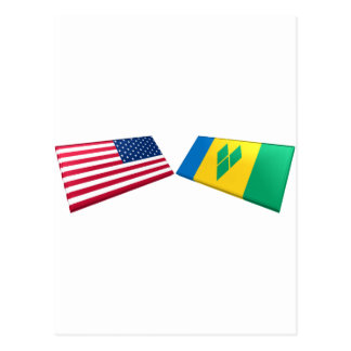 US & St. Vincent and the Grenadines Flags Postcard