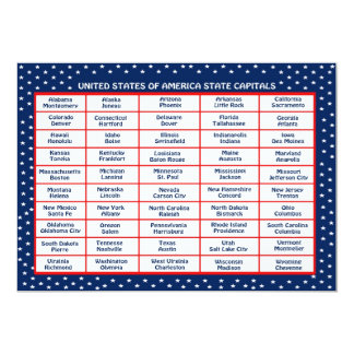 US State Capitals Card