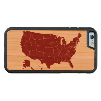 US States Map Maroon on Wood iPhone Case