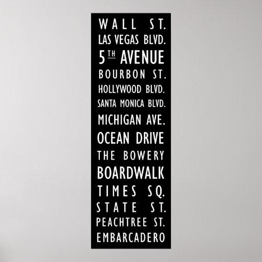 US Streets Vintage Transit Scroll Poster