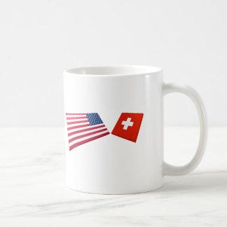 US & Switzerland Flags Coffee Mug