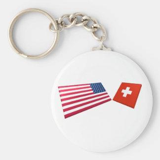 US & Switzerland Flags Basic Round Button Keychain