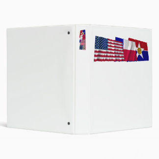 US, Texas and Dallas Flags 3 Ring Binder