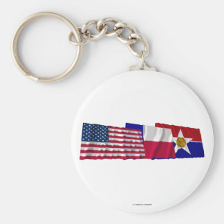 US, Texas and Dallas Flags Basic Round Button Keychain