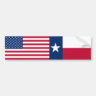 US & Texas Flags Bumper Stickers
