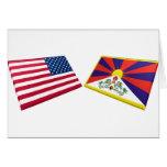 US & Tibet Flags Cards