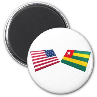 US & Togo Flags Fridge Magnet