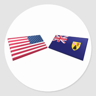 US & Turks and Caicos Islands Flags Round Stickers