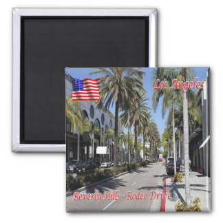 US U.S.A. Los Angeles Beverly Hills Rodeo Drive 2 Inch Square Magnet