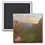 US U.S.A. National Park Zion Canyon - Panorama 2 Inch Square Magnet
