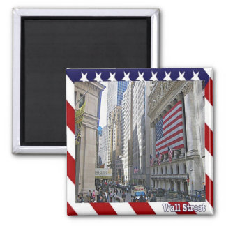 US U.S.A. - New York City - Wall Street 2 Inch Square Magnet