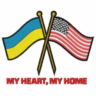 US-Ukraine Dual Flags Embroidered Hoodies