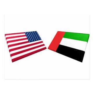 US & United Arab Emirates Flags Postcard