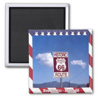 US - United States of America Route 66 New Mexico 2 Inch Square Magnet