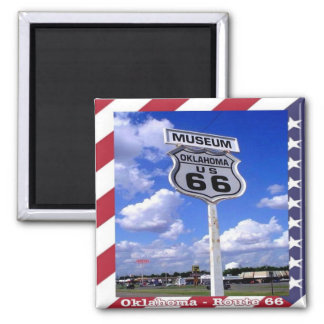 US - United States of America - Route 66 Oklahoma 2 Inch Square Magnet
