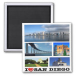 US - United States of America - San Diego - I Love 2 Inch Square Magnet