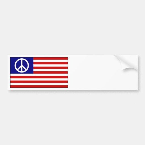US United States Peace Sign Flag Car Bumper Sticker