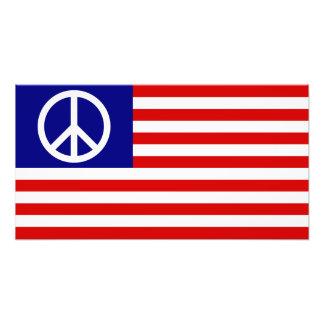 US United States Peace Sign Flag Photo Print
