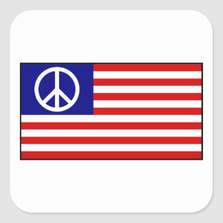 US United States Peace Sign Flag Square Sticker