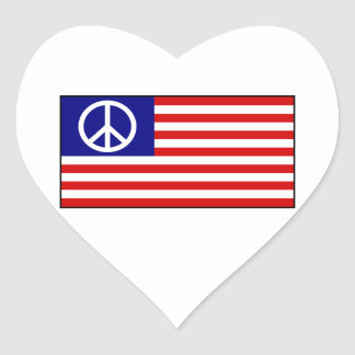 US United States Peace Sign Flag Heart Sticker