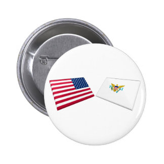 US & US Virgin Islands Flags Pinback Buttons