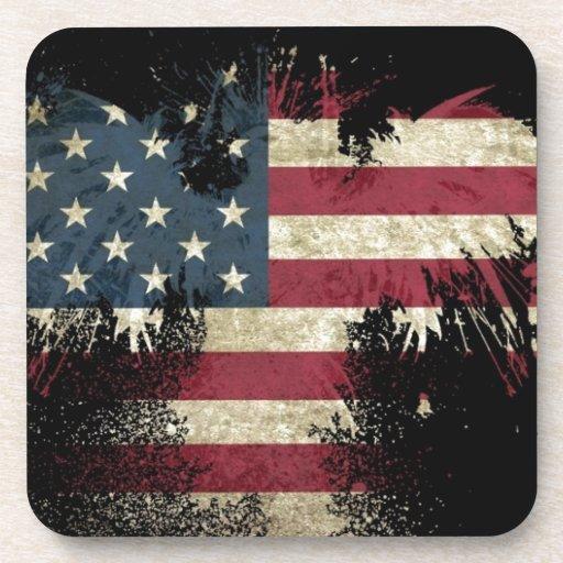 US/USA, SAD flag on black background Drink Coasters