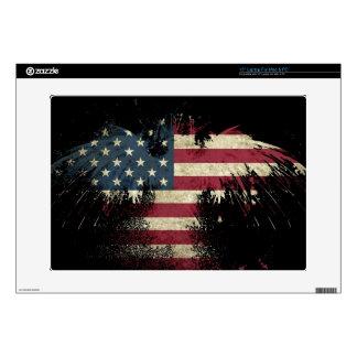 US/USA, SAD flag on black background Skins For Laptops