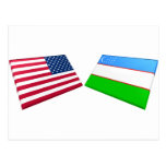 US & Uzbekistan Flags Postcards