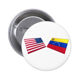US & Venezuela Flags Pinback Button