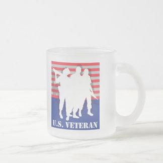 US Veteran 10 Oz Frosted Glass Coffee Mug