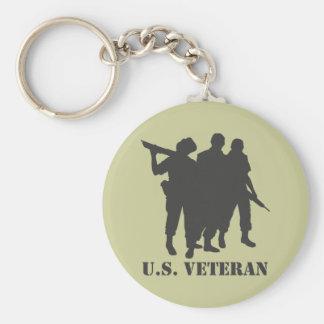 US Veteran Black Basic Round Button Keychain