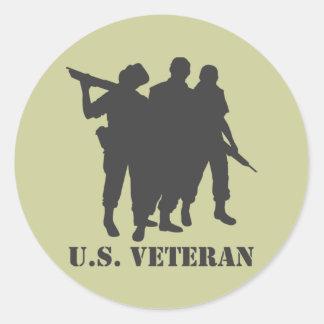 US Veteran Black Classic Round Sticker