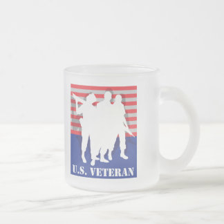 US Veteran Frosted Glass Coffee Mug
