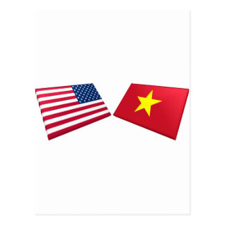 US & Vietnam Flag (North Vietnam) Postcard
