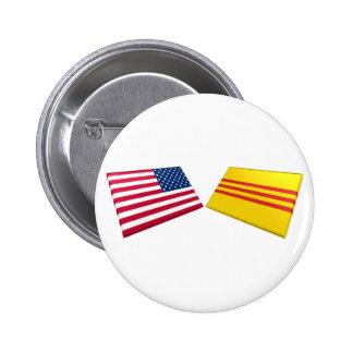 US & Vietnam Flags (South Vietnam) Button