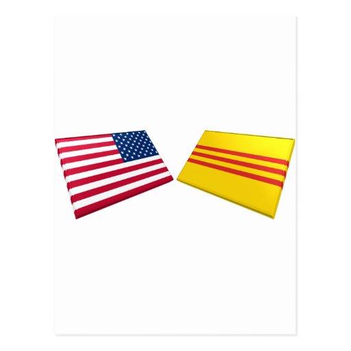 US & Vietnam Flags (South Vietnam) Postcard