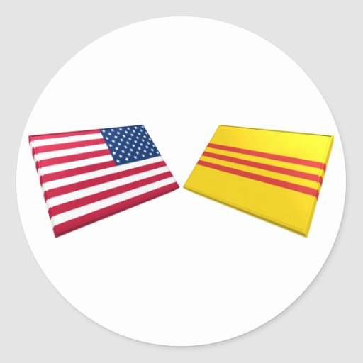 US & Vietnam Flags (South Vietnam) Classic Round Sticker