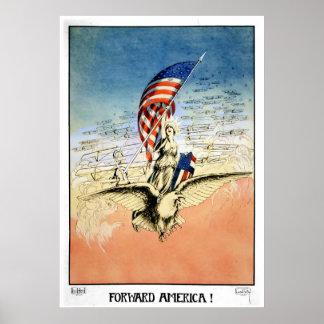 US Vintage Poster Forward America! Poster Print