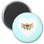 US Virgin Islands Flag Heart 2 Inch Round Magnet