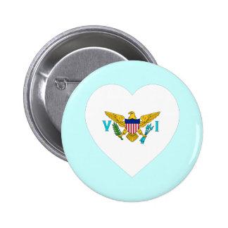 US Virgin Islands Flag Heart Buttons