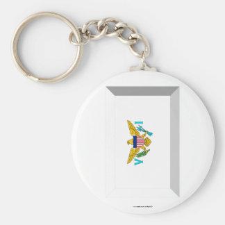 US VIrgin Islands Flag Jewel Basic Round Button Keychain