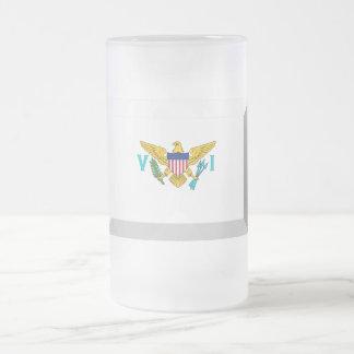 US VIrgin Islands Flag Jewel Frosted Glass Beer Mug